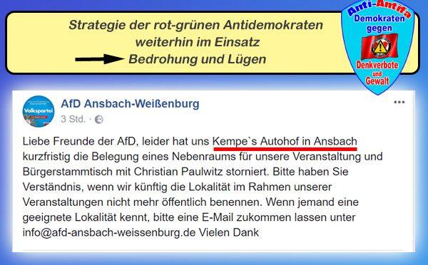 LK Ansbach: Antidemokraten nach wie vor aktiv