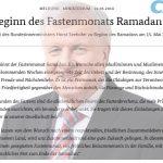 CSU > Seehofer: Herzliche Grußworte vom Bundesinnenminister an die Moslems zum Ramadan