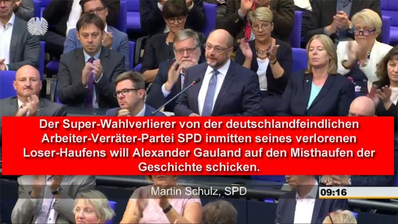 In seiner 48. Sitzung am 12.9.18 hat sich im Deutschen Bundestag nach einer Rede von Alexander Gauland (AfD) im Rahmen einer Zwischenbemerkung der Abgeordnete Martin Schulz von der deutschlandfeindlichen Rotnazi-Partei SPD zu Wort gemeldet und Gauland mitgeteilt, dass dieser auf den Misthaufen der Geschichte gehöre.