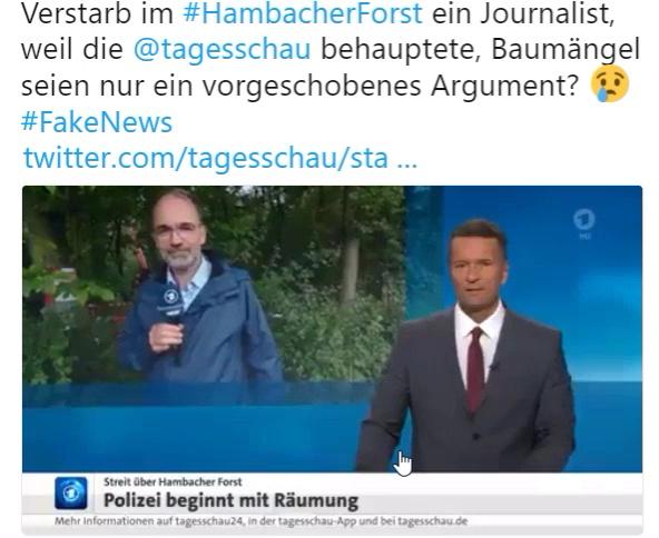 Im Hambacher Forst ist ein Journalist 15 Meter tief abgestürzt, als er sich über eine Hängebrücke bewegte.  Der Absturz erfolgte nicht bei einer Polizeiaktion.  Tage zuvor hatte die ARD-Tagesschau verkündet, die von den Behörden vorgebrachten Baumängel an den von den Waldbesetzern erstellten Bauwerken seien vorgeschoben, um eine Räumung durchführen zu können.   #hambacherforst  #todessturz  #ard  #tagesschau  📹 http://bit.ly/2xqoU3d