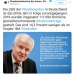 Seehofer versucht die Gesellschaft zum Nachteil Deutschlands mit geschönten Asylzahlen zu täuschen