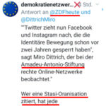 ZDF zitiert die linke Amadeu-Antonio-Stiftung #aas zur Bekräftigung der Verfassungsschutz-Lügen